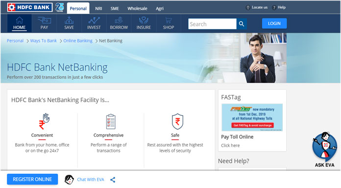 HDFC net banking registration login
