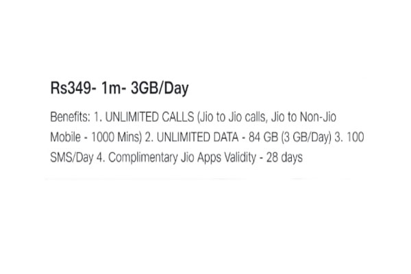 Reliance Jio 3 GB recharge plan