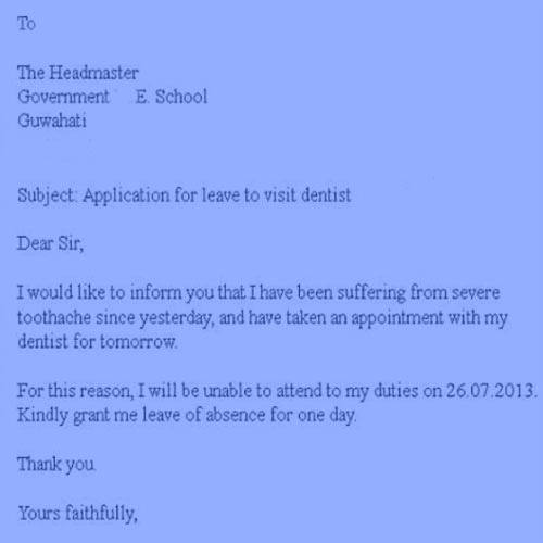 Professional leave application for school and office